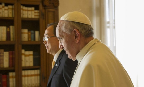 Ban Ki-moon and Pope Francis (Source: UN)