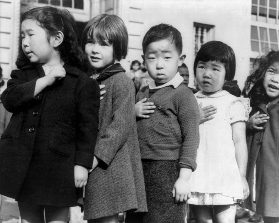 Japanese children pledging allegiance, for all the good it did.