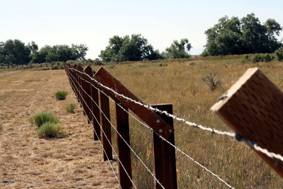 Modern recreation of the Minidoka Fence