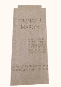 Thomas B Marsh Headstone, erected in the 20th Century