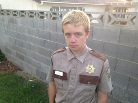 Todd on Halloween wearing the Rick Grimes costume that he made himself.