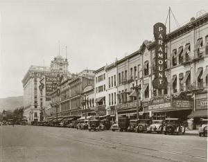 Downtown Salt Lake, looking towards ZCMI, as it appeared in the 1930's