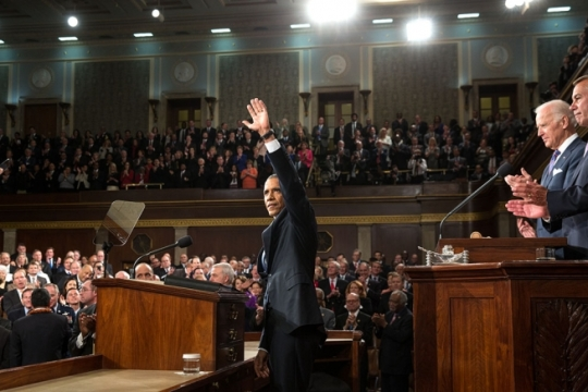 President Barack Obama acknowledges applause before he delivers the State of the Union address in the House Chamber at the U.S. Capitol in Washington, D.C., Jan. 20, 2015. (Official White House Photo by Pete Souza)