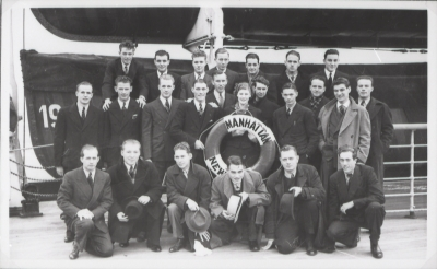 LDS Missionaries from the German mission crossing the Atlantic Ocean, 1930's