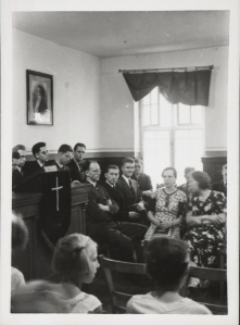 Mormon Branch Meeting in a rented hall, 1930's