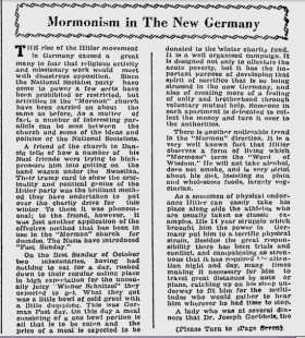 """""""Mormonism in the New Germany"""" Deseret News, Church News section, Saturday, Dec 9 1933, p. 3"""