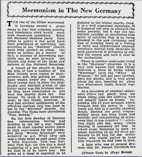 """Mormonism in the New Germany"" Deseret News, Church News section, Saturday, Dec 9 1933, p. 3"