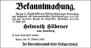 Announcement of Helmuth Hübener's execution