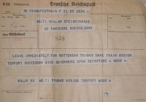Missionary evacuation telegram