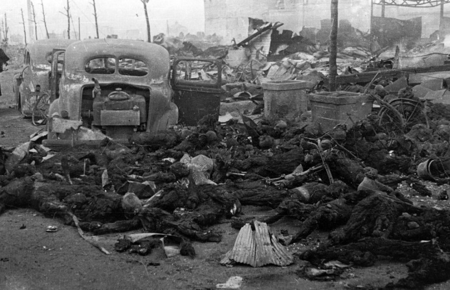 Civilians burned to death in Tokyo firebombing