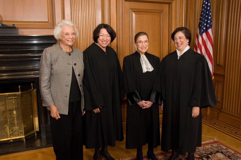 From left to right: Justice Sandra Day O'Connor, (Ret.), Justice Sonia Sotomayor, Justice Ruth Bader Ginsburg & Justice Elena Kagan in the Justices' Conference Room prior to Justice Kagan's Investiture. Credit: Steve Petteway, Collection of the Supreme Court of the United States.