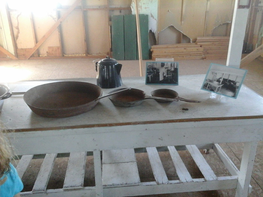 Cooking implements in rebuilt kitchen area